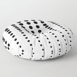 Reduced Black Polka Dots on Solid White Background Minimal Graphic Design Floor Pillow