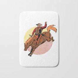 Vintage Retro Western Cowboy Horseback Rodeo Gift  Bath Mat