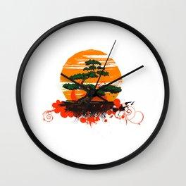 Cute Bonsai Tree Plant and Sunset Shirt Nature Tee Wall Clock