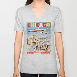 Fly to CHICAGO ILLONOIS AMERICA Vintage Airlines Travel Poster Unisex V-Neck