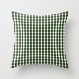 Dark Forest Green and White Gingham Check Throw Pillow