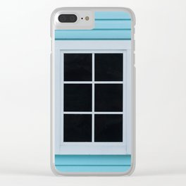 Black window with pink curtains on the blue wooden wall Clear iPhone Case