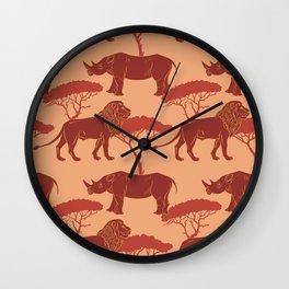 Burnt Orange Animals Neck Gator Rhinos and Lions Burnt Orange Animal Wall Clock