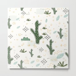 Seamless Pattern with cute Cacti Metal Print