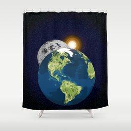 Earth Moon and Sun Shower Curtain