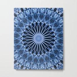 Blue mandala with flower shape Metal Print