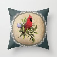 cardinal Throw Pillows featuring Cardinal by Ludovic Jacqz