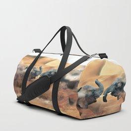 Elephants fighting Duffle Bag