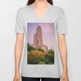 Pittsburgh Cathedral Of Learning Flower Garden Unisex V-Neck