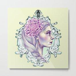 Girl in Mirror Metal Print