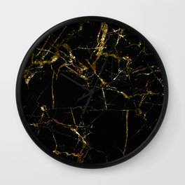 Golden Marble - Black and gold marble pattern, textured design Wall Clock