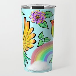 Birds Flowers and Rainbows Doodle Pattern Travel Mug