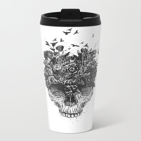 My head is a jungle (b&w) Metal Travel Mug
