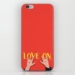 Love On Sign (I Love You) Language Hands - Red and Yellow Colorway iPhone Skin