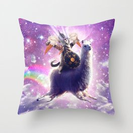 Lazer Warrior Space Cat Riding Llama Eating Ice Cream Throw Pillow