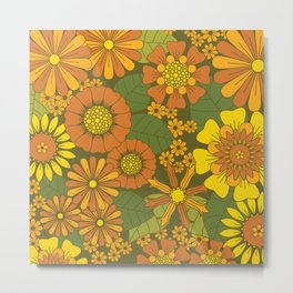 Orange, Brown, Yellow and Green Retro Daisy Pattern Metal Print