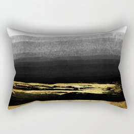 Black & Gold Stripes on White - Mix & Match with Simplicty of life Rectangular Pillow