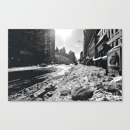 Snowing on 2nd Canvas Print