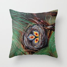 Baby Birds in Nest Throw Pillow