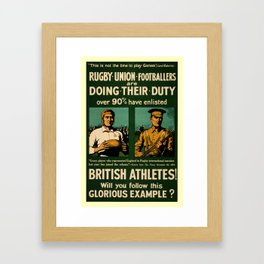 British rugby, football players call for duty Framed Art Print