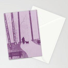 Man walking his dog 5 Stationery Cards