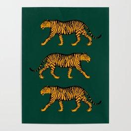Tigers (Dark Green and Marigold) Poster