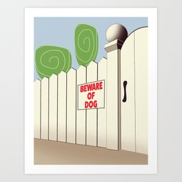 Beware of Dog vintage cartoon Art Print