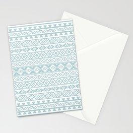 Aztec Stylized Pattern Duck Egg Blue & White Stationery Cards