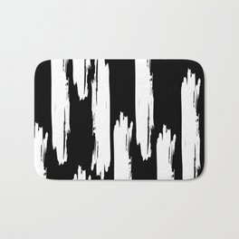Black And White Retro Bold Paint Lines Pattern Bath Mat