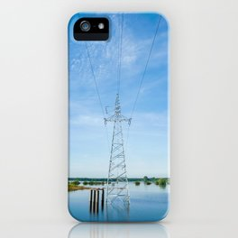 The high voltage power lines on flood water iPhone Case