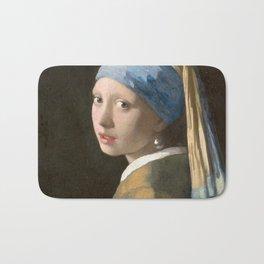 Johannes Vermeer - Girl with the pearl earring (1665) Bath Mat