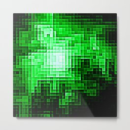 Nebula Pixels Emerald Green Metal Print
