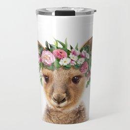 Baby Kangaroo With Flower Crown, Baby Animals Art Print By Synplus Travel Mug