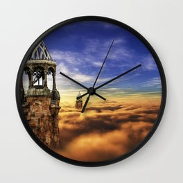 Fantasy Castle Sky Tower On Cloud Wall Clock