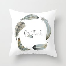 Watercolor feather wreath  Throw Pillow
