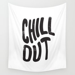 Chill Out Vintage Black and White Wall Tapestry
