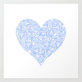 Floral Heart Design Blue and White Art Print