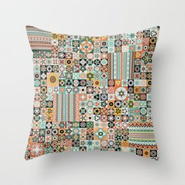 Vintage Quilted Pattern Wallpaper Throw Pillow