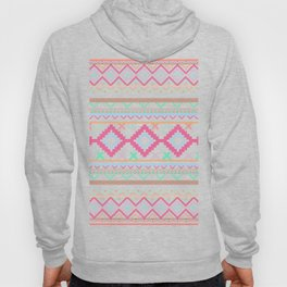 Pink teal Aztec Tribal Diamond geometric Pattern Hoody