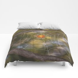 marbled orb weaver on a web Comforters