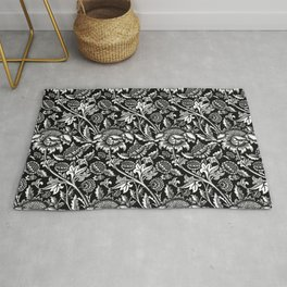 William Morris Sunflowers, Black and White with Gray Rug