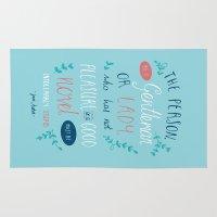 jane austen Area & Throw Rugs featuring Jane Austen - Good Novel by Abbie Imagine