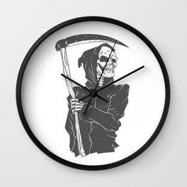Grim reaper black and white Wall Clock