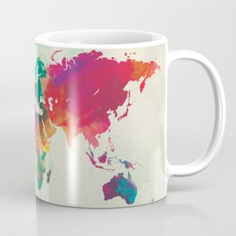 Watercolor World Map Coffee Mug