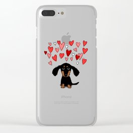 Cute Dachshund Puppy with Valentine Hearts Clear iPhone Case