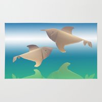 dolphins Area & Throw Rugs featuring dolphins by Ruud van Koningsbrugge