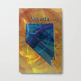 Nevada Map Metal Print