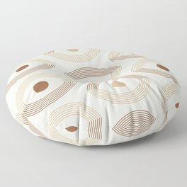 Geometric Eye Pattern in Neutral Colors Floor Pillow