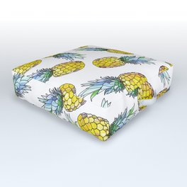 Tropical Green Teal Yellow Watercolor Pineapple Pattern Outdoor Floor Cushion