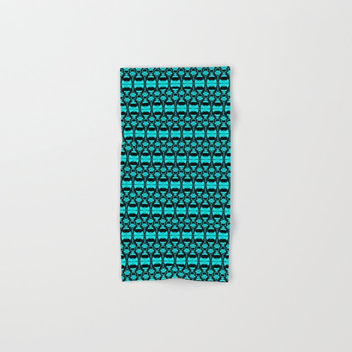 Abstract Pattern Dividers 02 in Turquoise Black Hand & Bath Towel